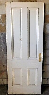 - Antique Italianate 7' Tall Four Panel Door - C. 1860 Fir Architectural Salvage