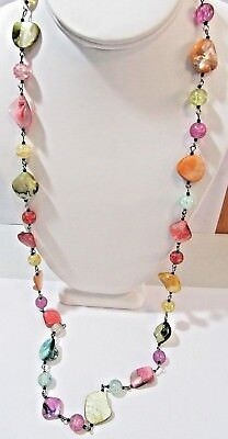 LONG COLORFUL CRACKLE AND DYED SEASHELL NECKLACE ON CHAIN LINKS ABALONE MODERN