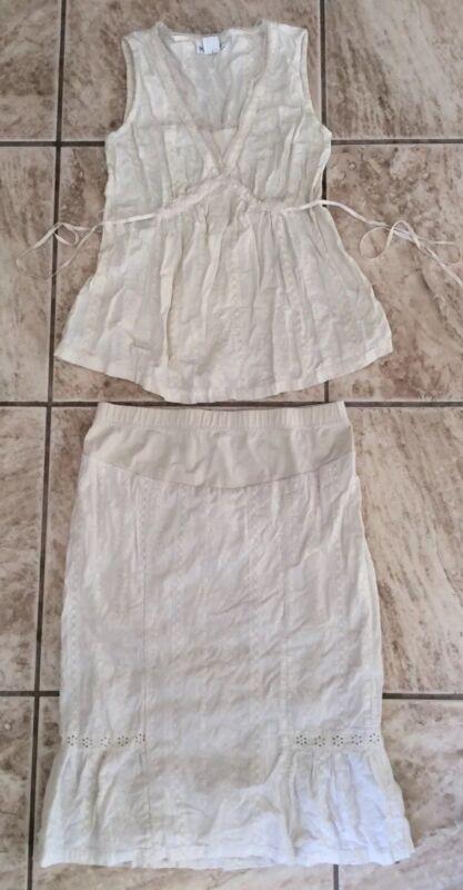 MOTHERHOOD MATERNITY Cute Eyelet Matching Skirt and Sleeveless Top Set Cream S