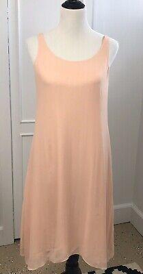 Eileen Fisher Slip Dress 100% Silk Strapless Scoop Neck Lined Peach Sz XS
