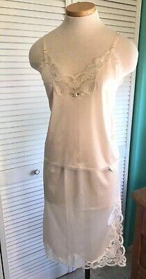 Fit Half Slip (Vintage Avon 2pc Set Camisole/Half Slip Sz Small Peach 100% Nylon Lace Trim NEW* )