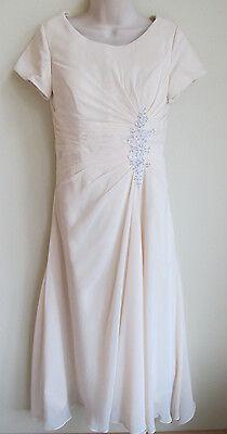 New Bridesire Champagne Modest Beaded Wedding Dress Asymmetrical Womens Size 6-8 (Asymmetrical Wedding Wedding Dress)
