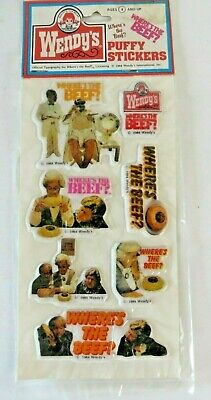 Vintage Wendy's Puffy Stickers Clara Peller Where's The Beef Promotion #1339