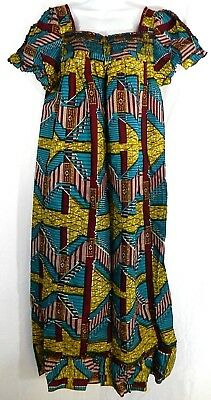 African Wax Ankara Long Maxi Dress With Details Square Neckline Womens Size L (Ankara Square)