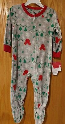 NWT Toddler Boys Disney Mickey Mouse Blanket Sleeper sz 2T Christmas -1320