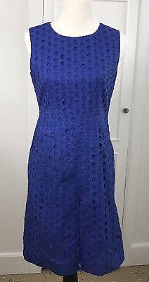 Diane Von Furstenberg DVF Dress Blue Capreena Ring Stitch Pockets Eyelet Sz (Dvf Ring)