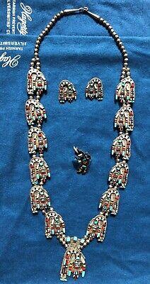Old Pawn Zuni Rainbow Man Signed Squash Blossom Necklace Set