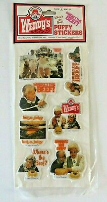 Vintage Wendy's Puffy Stickers Clara Peller Where's The Beef Hot n Juicy #1336