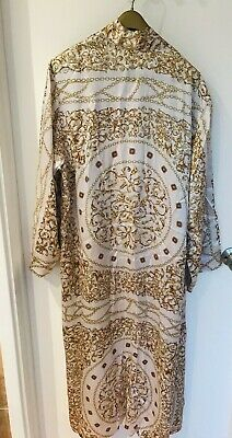 100% SILK Dressing Gown Robe Duster Coat RRP£650 Kimono New Silver Gold