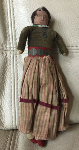 """Antique 8"""" Navajo Doll - Hand Sewn & Hand Painted"""