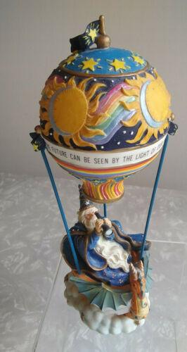 "MARJORIE SARNAT Wizard & Dragon in Hot Air Balloon - SanFran Music Box - 8-1/2"""