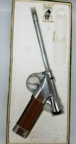 Old Gun Lighter Match-O-Matic Butane Gas Match Silver Vintage Fire Auto Pistol