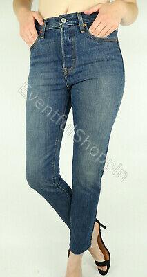 NWT Levis Wedgie High Waist White Oak Cone Straight Raw Hem Jeans Classic Tint ()