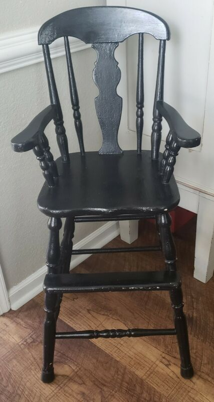 Vintage Antique Farmhouse Rustic Wood Toddler Youth Booster High Chair Seat