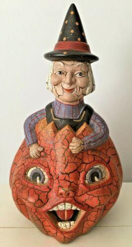 Two Faced Pumpkin Crackle Glaze Witch Folk Art Table Shelf Sitter Halloween