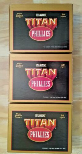 Phillies Black Titan Cigar Boxes - Lot of 3/ Very Nice! FAST FREE SHIPPING!!!