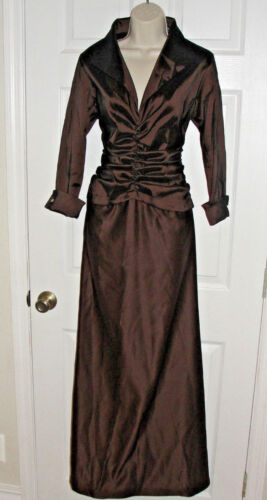 TADASHI COLLECTION FORMAL EVENING GOWN MOTHER OF THE BRIDE FULL LENGTH CHOCOLATE