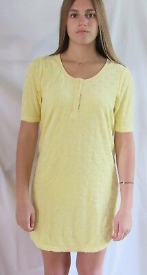 JUICY COUTURE Jacquard Heart Henley Nighty Gown Yellow Size S New With Tag for sale  Shipping to India