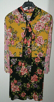 Women's NWT Zara Floral Patchwork Flowing Mini Size Small Multicolor Dress