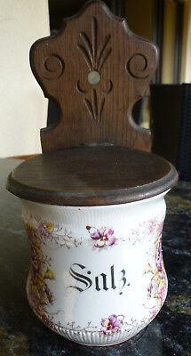 Jugendstil art nouveau Küche Vorratsdose Salz Holz floral spitze top super rar