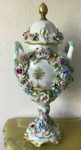 Mark Antique Flower Encrusted Porcelain Lidded Urn 21""