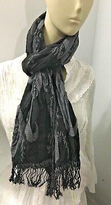 Layer Scarf - NEW GRAY & BLACK  Double Layer Reversible Scarf Shawl Wrap 12