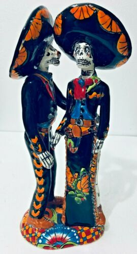 Catrina Day of the Dead Mariachi Charro Talavera Couple Mexican Folk Art