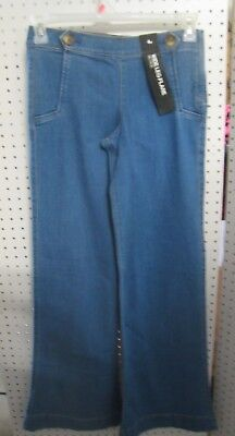 (New Express Ladies Jeans Mid Rise, Wide Leg Flare, Side Zip, Faux Pocket/Buttons)