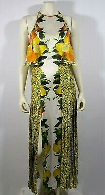 STELLA MCCARTNEY Lemon Orange Citrus Print Silk Pleated Dress
