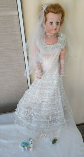 """Vintage Betty The Beautiful Bride Doll Approximate 30"""" Tall in Box 1950s"""