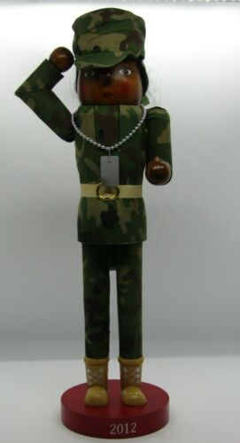 """Nutcracker Wooden 14"""" African American Army Female Soldier with Dog Tag"""