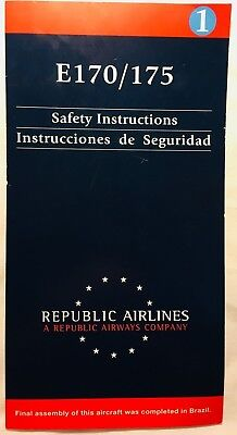 Republic Airlines Airways Embraer E170 175 Safety Card   United  American  Delta