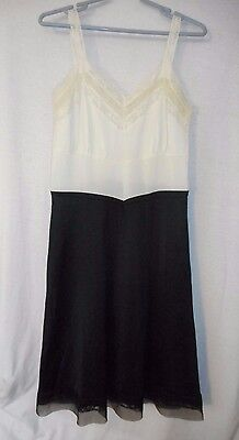 Vintage Nylon White Black Lacey Full Length Slip Size 38 by American Maid