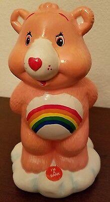 Care Bears Ceramic Coin Savings Bank Cheer Bear w/ Rainbow Symbol - Collectible - Cheer Bear Symbol
