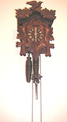 "German 2 Weights Driven Movement Carved Wood Case Cuckoo Clock 11""H 8""W"