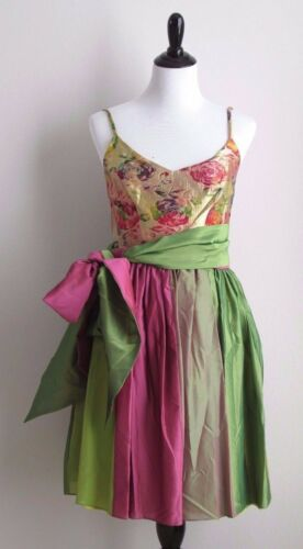 VINTAGE 90's BEN de LISI Iridescent Pink, Green & Gold Brocade Party Dress Sz 8