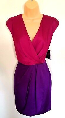 (Vince Camuto Dress 6 Pleated V Neck Faux Wrap Top Rio Pink Purple Spring New Tag)