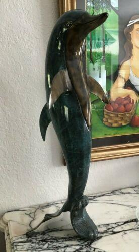 """32"""" Bronze/Brass Blue Standing Dolphin Sculpture"""