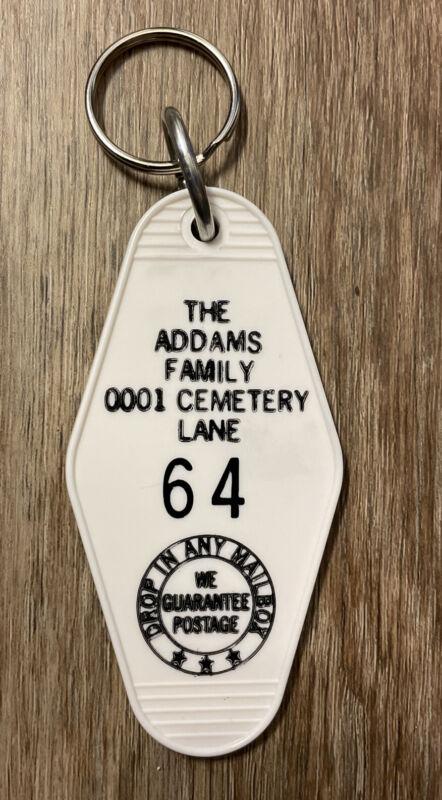 White Addams Family TV Show Hotel Motel Room Keychain