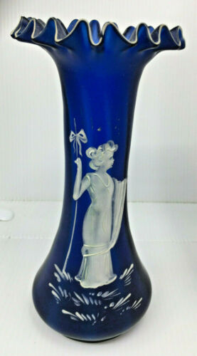 Mary Gregory Antique Glass Vase Cobalt Blue Stripes White Goddess Flame RARE