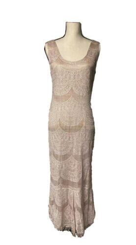 Damianou Pink Rayon Lurex Long Dress 2pc Set Metallic Gorgeous Eveningwear S P