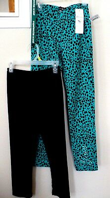 Lot-2-GUESS  & iZ young Girls Pants Leggings L 14 Green Black Cotton - Young Girls Spandex