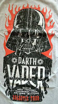 STAR WARS Herren T-Shirt DARTH VADER GALACTIC TOUR grau 2x bedruckt NEU Gr. S ()