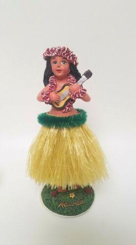 "Vintage KC Hawaii Hula Girl Dashboard Doll -Ukulele Yellow Grass Skirt - 6.5"""