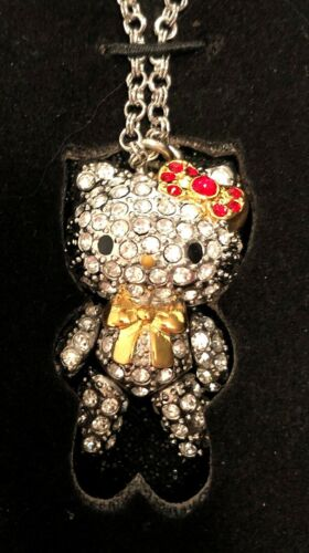 "Sanrio Hello Kitty Ltd Ed Swarovski Crystal 1.5"" Pavé Pendant Necklace 2008 NOS"