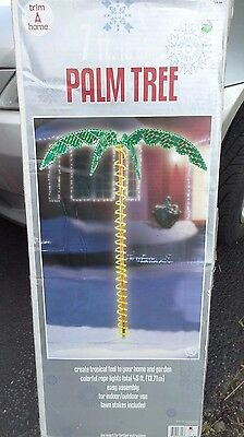 Christmas 7' Tropical Luau Palm Tree Spiral Rope Holographic Marble LED Light
