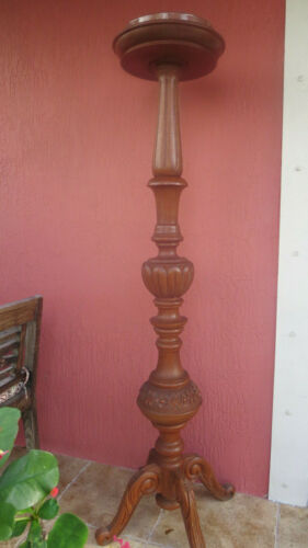 "Antique 69"" solid Mahogany wood Torchere English Plant Stand"