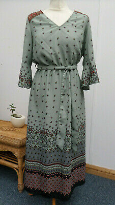 Together @ Kaleidoscope Green Flower Print Summer Boho Midi Dress UK Size 10