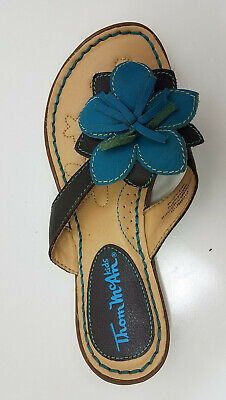Thom Mcan Kids Youth flip flop brown/blue flower decorated leather size 3