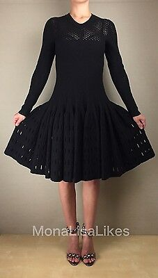 New Alaia Black Long Sleeve Laser Cut Embossed Fitted Full Skirt Wool Dress 40
